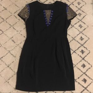 Francesca's black beaded party dress zip closure